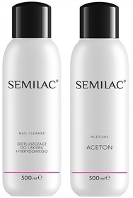 SEMILAC CZYSTY ACETON + CLEANER do hybryd 2x 500ml