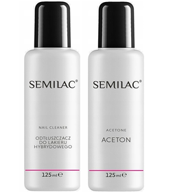 SEMILAC CZYSTY ACETON + CLEANER do hybryd 2x 125ml