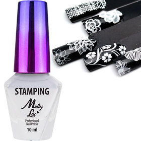 Molly Lac Lakier do stempli stamping BIAŁY 10ml