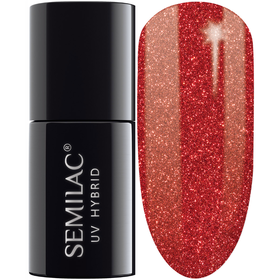 SEMILAC 025 Glitter Red UV LED Lakier Hybrydowy 7ml