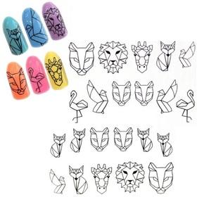 NAKLEJKI WODNE na paznokcie geometryczne zwierzęta STZ-652